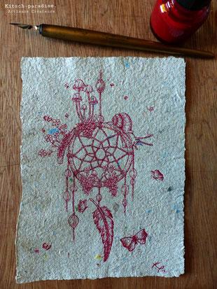 le temps escargot attrape rêve kitsch plume encre paradise kp  artisan créateur artisanat