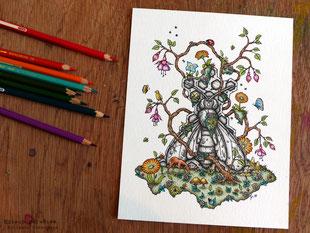 totem, chevreuil, abeille, fleurs, papillons encre de chine, crayons de couleur, kitsch-paradise, kitsch, paradise, artisan, créateur, bretagne, macramé, bijoux