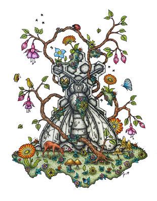 kp totem, chevreuil, abeille, fleurs, papillons encre de chine, crayons de couleur, kitsch-paradise, kitsch, paradise, artisan, créateur, bretagne, macramé, bijoux