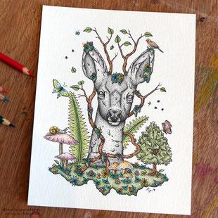 totem, chevreuil, faon, encre de chine, crayons de couleur, kitsch-paradise, kitsch, paradise, artisan, créateur, bretagne, macramé, bijoux