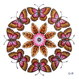 Kitsch, paradise, artisan, créateur, encre de chine, papillon, mandala, art, dessin, nature