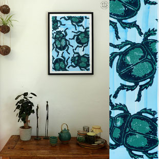 Kitsch, paradise, artisan, créateur, art, dessin, nature, gravure, scarabée