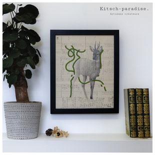 Crayon acrylique peinture chevreuil alentours kitsch  paradise kp  artisan créateur artisanat