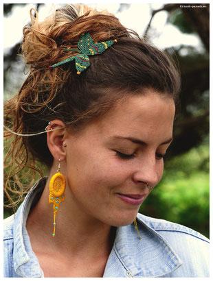 kitsch-paradise artisans créateurs boiucle d'oreille macramé création tissage micromacramé couleur nature art attrape-rêve dreamcatcher bretagne