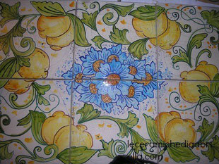 ceramic panel with lemons italy