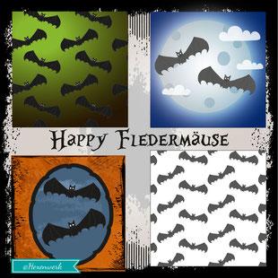 Illustration Muster Fledermäuse Halloween