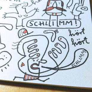 Blick in mein Skizzenbuch - Illustration, kleiner Mann mit Mütze, schlimm, Manni, blau, rot, Frank Schulz Art