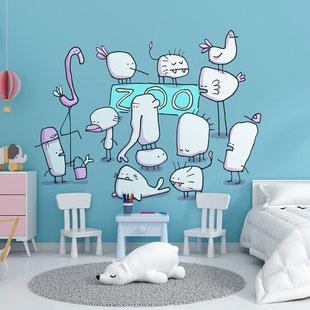 Die Tiere im Zoo als Wandmotiv für Kinder, gemalt mit Acrylfarbe von Frank Schulz. Hier als digitales Mockup.