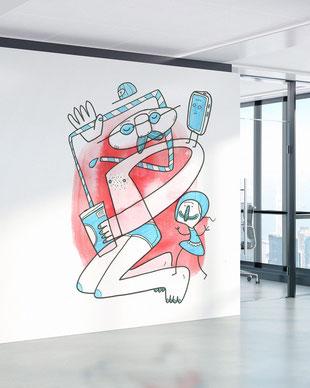 Zwei Figuren mit Getränk und Smartphone als Wandmotiv fürs Büro, gemalt mit Acrylfarbe von Frank Schulz. Hier als digitales Mockup.