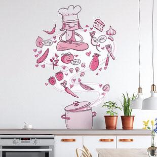 Kochen mit Karma als Wandmotiv für die Küche, gemalt mit Acrylfarbe von Frank Schulz. Hier als digitales Mockup.