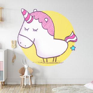 Ein Einhorn als Wandmotiv für Kinder, gemalt mit Acrylfarbe von Frank Schulz. Hier als digitales Mockup.