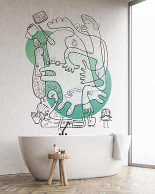 Wandmotiv im Bad mit Einhorn, gemalt mit Acrylfarbe von Frank Schulz. Hier als digitales Mockup.