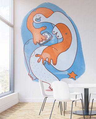 Eine Frau mit Smartphone als Wandmotiv fürs Büro, gemalt mit Acrylfarbe von Frank Schulz. Hier als digitales Mockup.
