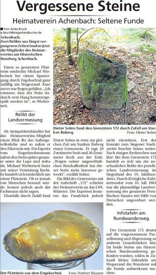 Zeitungsartikel Vergessene Steine seltene Funde