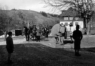 Luthern Bad, Rückkehr mit Elefant von Tanneschleipfete, um 1960