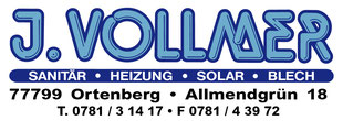 Vollmer Sanitär • Heizung • Solar • Blech, Allmendgrün 18, 77799 Ortenberg