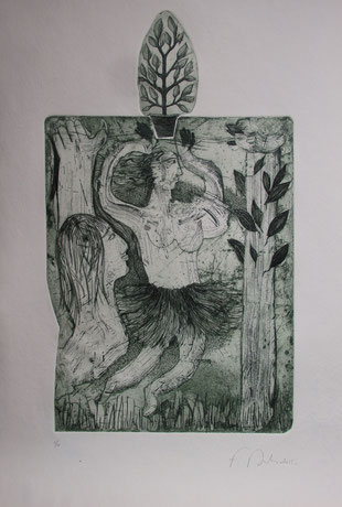 Belle de mai, eau-forte et burin,  plaque 20,8 x 35,5 cm