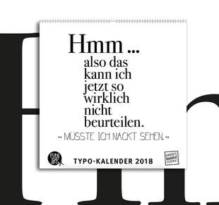 Kleiner Typokalender 2018 mit lustigen Sprüchen