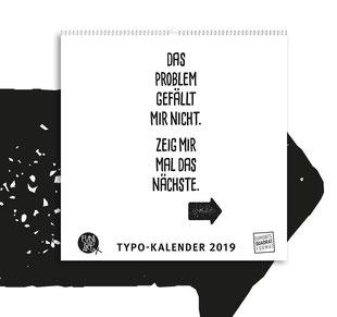 Kleiner Typokalender 2019 mit lustigen Sprüchen