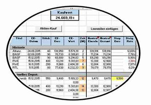 Bild: Aktienverwaltung in Excel