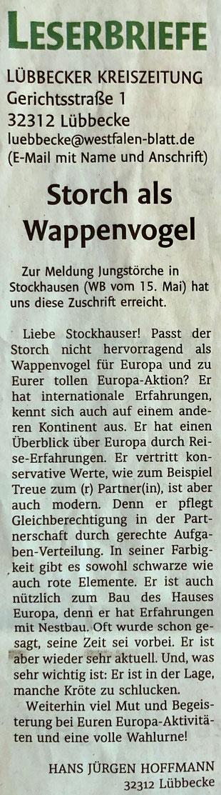 Leserbrief von Hans Jürgen Hoffmann zur symbolischen Verbindung unserer Europa-Initiative und unserem Stockhauser Storchenhorst (Lübbecker Kreiszeitung (Westfalen-Blatt), Lokalteil Lübbecke, 18.05.2019)