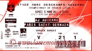 Ticket  Auxerre-PSG  2010-11