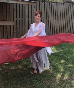 Deep red silk flags