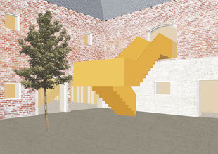 Architectural perspective collage. Radical transformation of an historic farm building in Upper Austria. Use of prefabricated, modular wooden architecture. Umbau eines Vierkanthofes.
