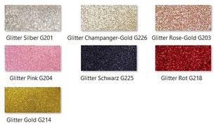 Farbpalette Glitterkarton