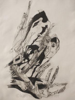 Häutung I,  Intagliotypie, Mezzotinto, 60cm x 40cm (Plattenformat), 2018