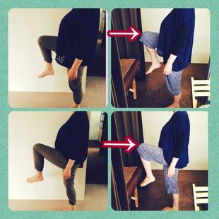 左:施術前 右:施術後 脚の可動域が違います☆