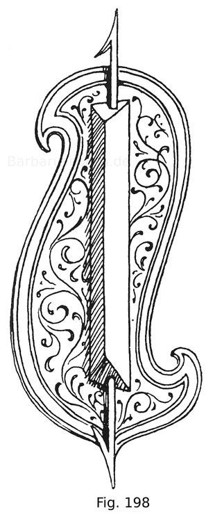 Fig. 198. Fechtschild aus Holz, mit Haut überzogen und bemalt. Aus den Zeugbüchern Maximilians I. 15. Jahrhundert.