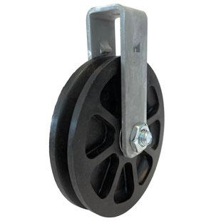 Carrucola da Ø 100 mm, con doppio cuscinetto a sfera staffa avvitata in acciaio zincato per cavi fino a Ø 3 mm