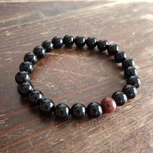 bracelets homme perles noires et rouges