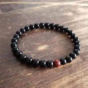 bracelet homme onyx et jaspe rouge
