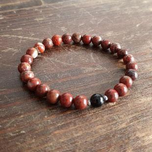 bracelet femme en jaspe rouge