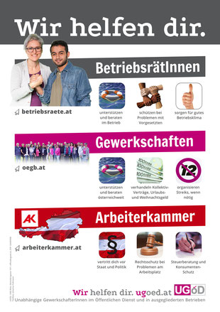 Plakat: Wir helfen dir: BetriebsrätInnen, Gewerkschaften, Arbeiterkammer