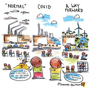 """Cartoon: 2 Kinder blicken auf eine Großstadt. """"What if we went forward instead going back to normal?"""""""