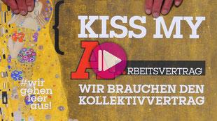 """Gustav Klimts Gemälde """"Der Kuss"""" mit der Aufschrift: Kiss My A...rbeitsvertrag"""