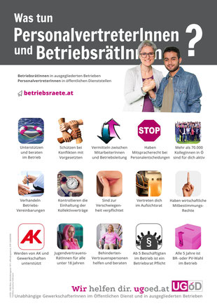 Plakat: Was tun PersonalvertreterInnen und BetriebsrätInnen