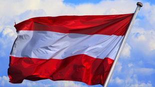 Österreichische Fahne weht im Wind
