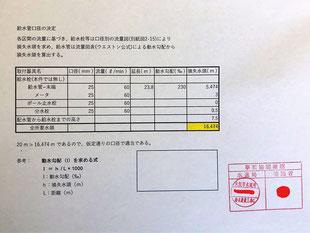 給水管口径の決定に用いた計算書