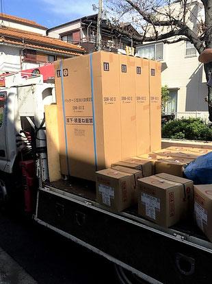 パッケージ消火設備4台をトラックで納入