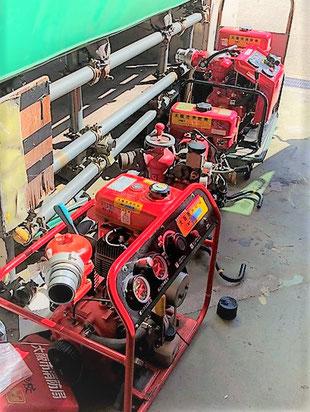 少しずつ形が異なる動力消防ポンプ