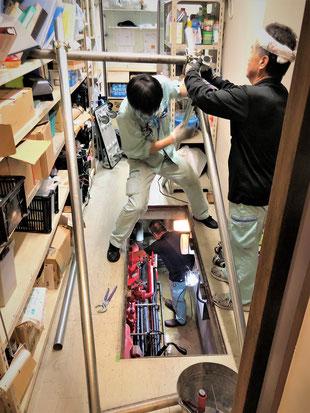 チェーンブロックを吊下げる基礎を鉄管