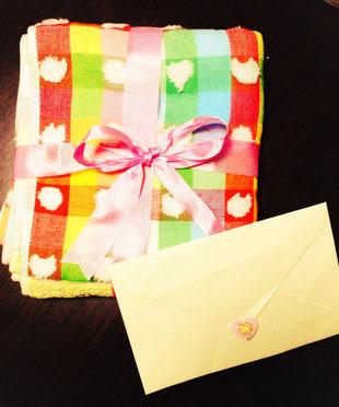 お客様から頂いたタオルとお手紙♡ 宝物です