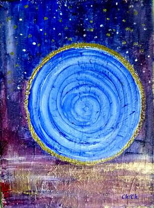 Acryl,gemalte Himmelsscheibe