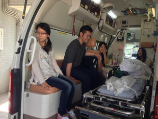 救急車に試乗体験。