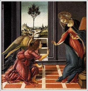 1489-1490年 テンペラ 150×156cm ボッティチェリ作        <受胎告知>