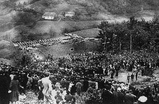 Ezquioga pendant l'afflux des milliers de pélerins